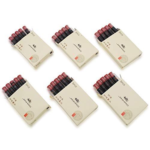 Cartuchos de tinta JINHAO para todo tipo de plumas estilográficas JINHAO y Baoer. Este cartucho de tinta se ajusta a las plumas estilográficas de otras marcas. Cantidad: 30 unidades en 6 cajas de cartón pequeño. Longitud: 52 mm. Diámetro del cartucho...
