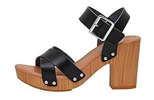 Dunes Women's Sayer Faux Wood Sandal +Memory Foam Insole & LiteSole Technology, Black 6 by