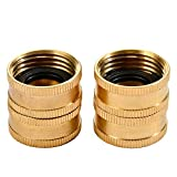 2 Pack 3/4 Inch Brass Garden Hose Connector with Dual Swivel for Male Hose to Male Hose, Female to Female Hose Adapter