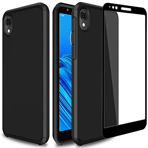 PhuLok Moto E6 Case,Motorola E6 Case,with Tempered Glass Screen Protector,Rugged Tough PC+TPU Dual Layer Hybrid Shock Proof Protective Cover Case for Motorola Moto E6 (2019) (Black)
