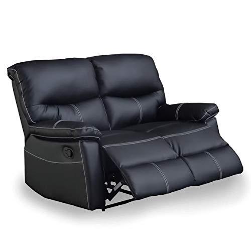 Dina - Sofá de 2 plazas, manual de piel sintética, color negro