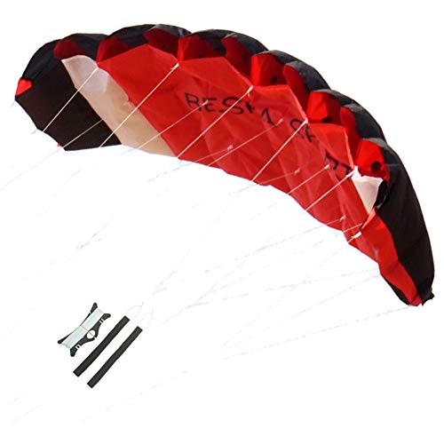 Besra Huge 74inch Dual Line Parachute Stunt Kite with Flying Tools 1.9m Power Parafoil Kitesurfing Training Kites Outdoor Fun Sports (Red)