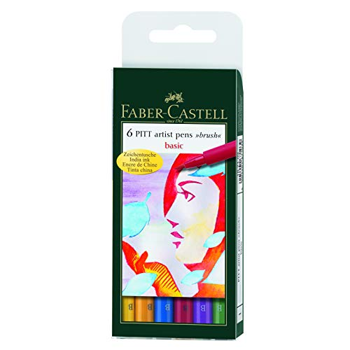 Faber Castell 167103 - Tuschestift PITT artist pen brush -Basic- 6er Packung