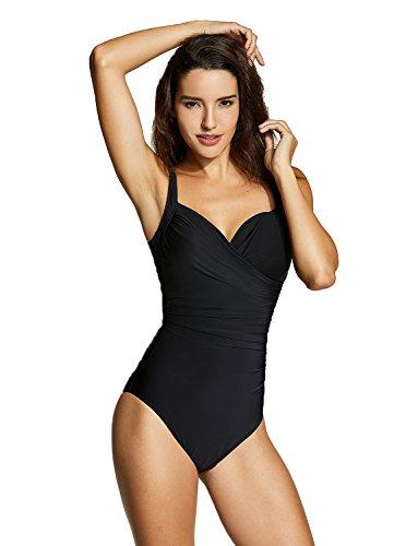 DELIMIRA Damen Einteiler Bademode - Schlankheits Badeanzug Mit Bügel Schwarz 52