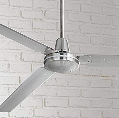 "72"" Casa Velocity Modern Industrial Outdoor Ceiling Fan Brushed Nickel Wall Control Damp Rated for Patio Porch - Casa Vieja"