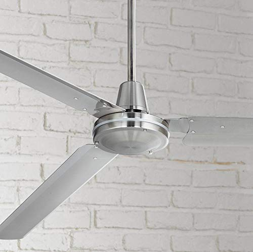 72' Casa Velocity Modern Contemporary Industrial Farmhouse Indoor Outdoor Ceiling Fan Brushed Nickel Wall Control Damp Rated for Patio Exterior House Porch Gazebo Garage Barn Roof - Casa Vieja