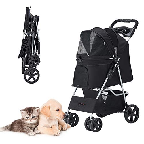 HRKIM Pet Stroller, Cat Dog Stroller for Medium Small Dog with Storage Basket Foldable Lightweight Dog Carrier Trolley