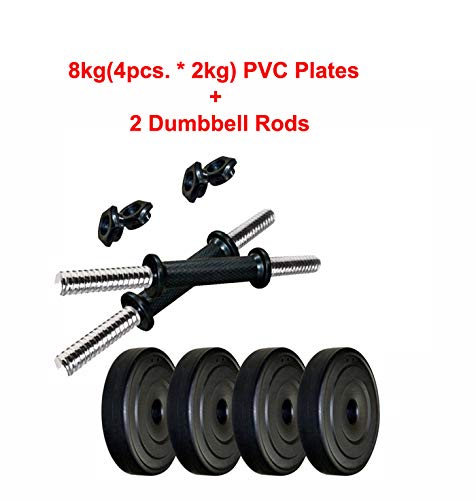 L'AVENIR Fitness 8KG (4pcs * 2kg) PVC Plates + 2 Dumbbell Rods - Adjustable Dumbbells
