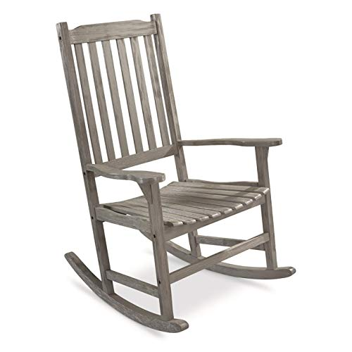 CASTLECREEK Oversized Wood Rocking Chair for Adults, Heavy-Duty 400 lb Capacity, Rustic Indoor Outdoor Rocker Lounge Chairs for Porch Patio Living Room, Driftwood