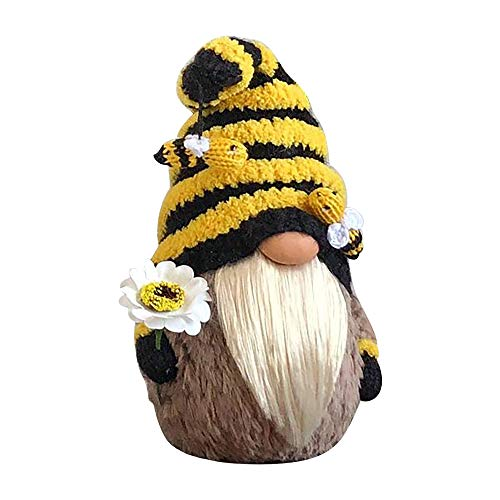 Bumble Bee Striped Gnome Doll Decorations, Handmade Knitted Gnomes Faceless Plush Doll Ornaments, Scandinavian Tomte Nisse Swedish Honey Bee Elf Home Farmhouse Decor, Bee Festival Gifts (A, 1 PC)