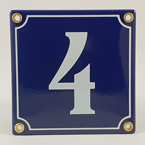 Emaille Schild Hausnummer 4 Blau-Weiß