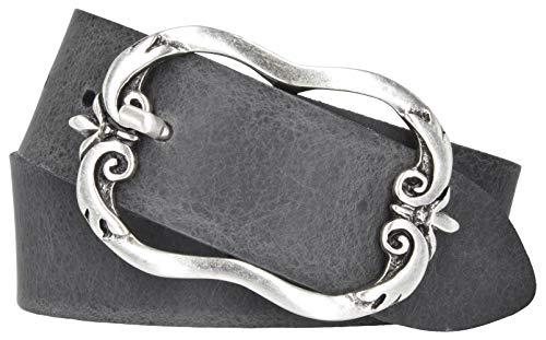 Mytem-Gear Damen Gürtel Leder Belt Ledergürtel Rindleder 40 mm Damengürtel kürzbar (95 cm, Grau)