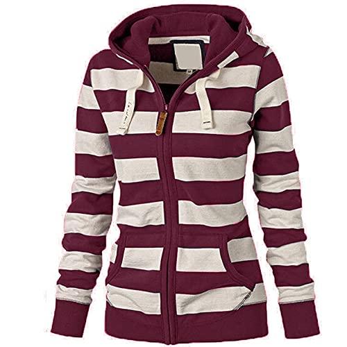 Wave166 Sudadera con capucha para mujer, a rayas, patchwork, de color con cordón, con bolsillos, manga larga, cuello redondo, estilo informal, Vino, XXL