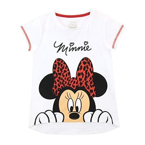 Disney Minnie Mouse Maglietta a Maniche Corta per Bambina (3-4 Anni, Bianca)