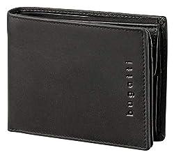 Bugatti Romano Geldbörse Herren Leder mit RFID Schutz – Portemonnaie Herren Querformat Schwarz – Geldbeutel Portmonee Wallet Brieftasche Männer Portmonaise