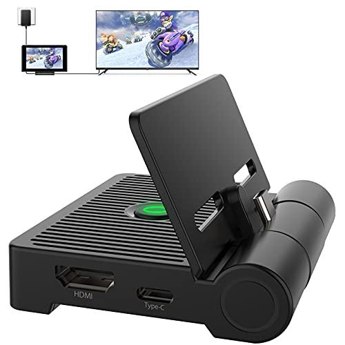 Beedove Switch Dock, Base de Carga Nintendo Switch Portátil, Soporte de Interruptor Plegable Tipo C con Puerto Adaptador 1080P HDMI USB 2.0 / 3.0, Diseño de Refrigeración por Ventilación, para Viajar