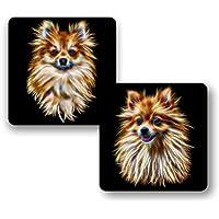 Fractal Artworks Posavasos Pomerania con diseño de arte fractal #1. Regalo perfecto para dueño de perros