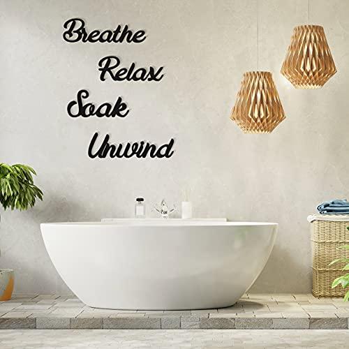 4 Pieces Farmhouse Bathroom Wall Decors Relax Soak Unwind Breathe Wooden Word Sign Hanging...