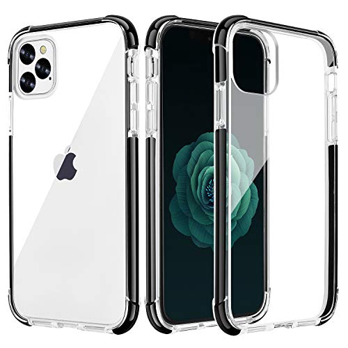 OHNICE iPhone 11 Pro Max Case Clear Premium Anti-Yellow Hard PC Back Cover with Soft Crystal Corners Rubber Bumper Shockproof Protective Case for Apple New iPhone 11 Pro Max 6.5 inch (Black)