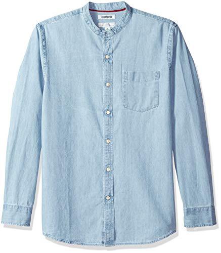 Marca Amazon – Goodthreads – Camisa vaquera de manga larga, cuello en banda y corte estándar para hombre, Azul (Light Blue Lig), US S (EU S)