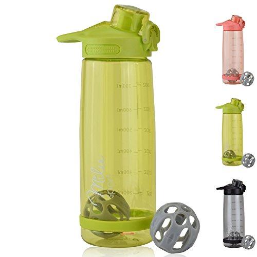 Milu 2 in1 Bottiglia d'Acqua & shaker per proteine 800ml Borraccia a Prova di perdite, Riutilizzabile Senza BPA Plastica Detox Bottiglie Acqua per Palestra,Yoga,Bambini