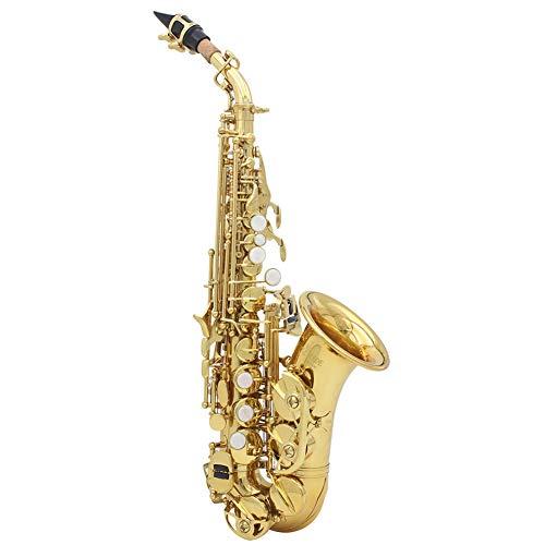 AYYNAM Soprano Saxofoon Messing B-Flat Sax Prachtig gesneden patroon Geschikt voor studenten en beginners Woodwind Instrument met handschoenen schoonmaken doek reinigingsborstel Saxofoon Box