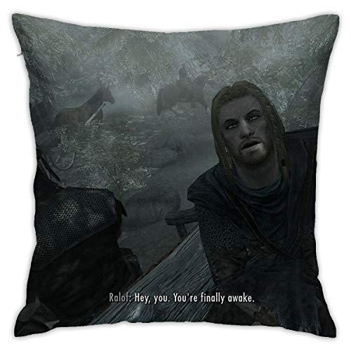 Not Applicable Skyrim Pillow Hey You You You 'Re Finally Awake Home - Fundas de almohada decorativas para sofá de 45,7 x 45,7 cm