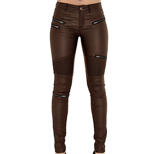 LAEMILIA Leggings Lederleggings Stretch Skinny Low Waist Hose in Leder-Optik Treggins Smooth Strumpfhose Lederoptik Slim Schwarz