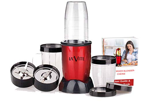 La' Forte La Vite Cherie -Compact Powerful Mixer Grinder Blender, 3 Jars and 2 Detachable Blades (Download Free Recipe E-Book), BIS Approved, ISI Mark, Red