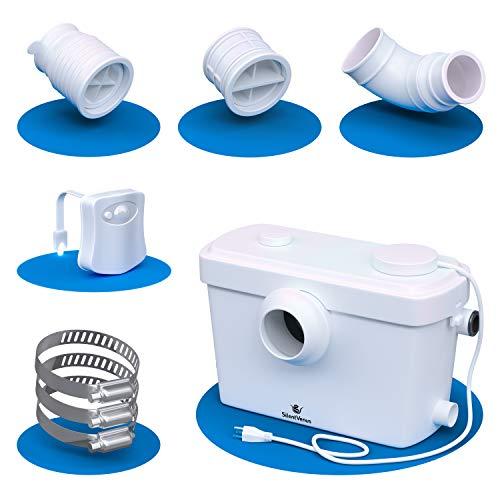 Silent Venus Toilet Pump (White) - Pump for Upflush Toilets - Basement Bathroom Pump