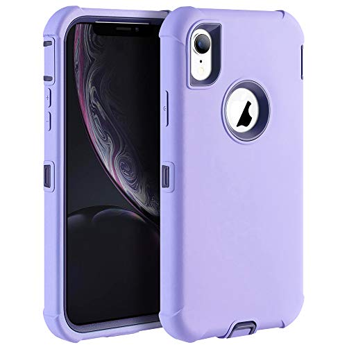 Sansunto for iPhone XR Case, Heavy Duty Full Body Protection Defender Shockproof Hybrid Hard PC & Soft Silicone Bumper Protective Cover for Apple iPhone XR 6.1 inch (Light Purple/Linen Blue)