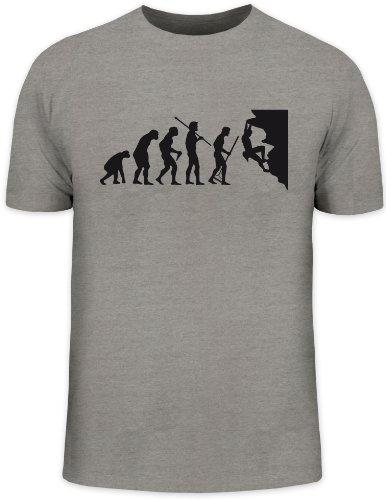Shirtstreet24, Evolution CLIMBER, Kletter Funshirt, Größe: XL,graumeliert