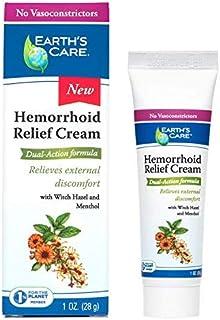 Earth's Care Hemorrhoid Relief Cream, No Vasoconstrictors, Parabens, Petrolatum, Artificial Colors, or Fragrance 1 OZ.