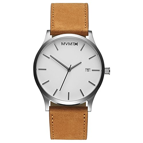 MVMT Classic Mens Watch, 45MM | Leather Band, Minimalist Watch, Analog with Date | White Tan