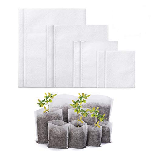 Delxo 400pcs 4 tamaños biodegradables no tejidas bolsas de guardería plantas bolsas de cultivo de plantas bolsas de tela para plantas...