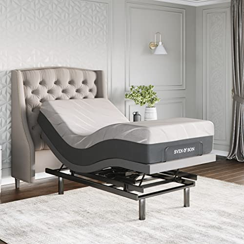 Sven & Son Twin XL Adjustable Bed Base Frame Platinum (Individual Head Tilt & Lumbar) + 10' Cool Gel Memory Foam Mattress and Adjustable Bed (TXL)