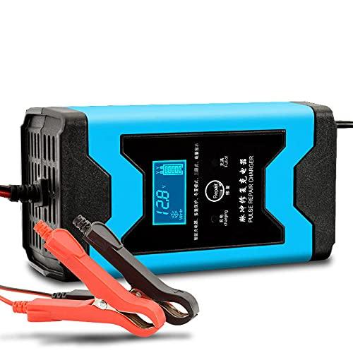 Frieed 1 2V 6A Reparación de pulsos LCD Cargador de batería Azul para Auto Motocicleta Plomo ácido batería agm Gel Mojado Durable (Color : EU Plug)