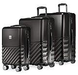 Hauptstadtkoffer - Boxi - Set di 3 Valigie Trolley rigido TSA 4 ruote ABS, (S, M, L) nero
