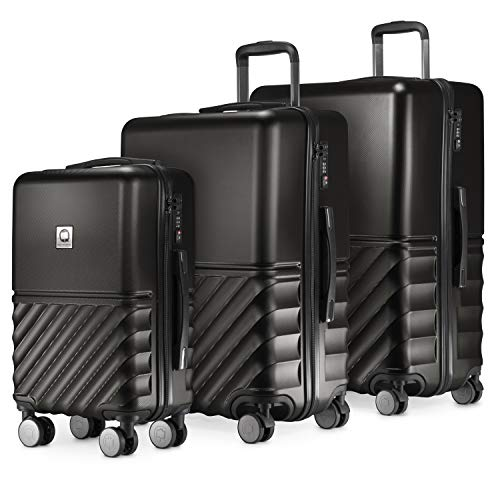 Hauptstadtkoffer Boxi - Set of 3 Hard-Side Luggages Trolley Hardside Hard Shell Suitcase Expandable, TSA, (S, M & L), Black