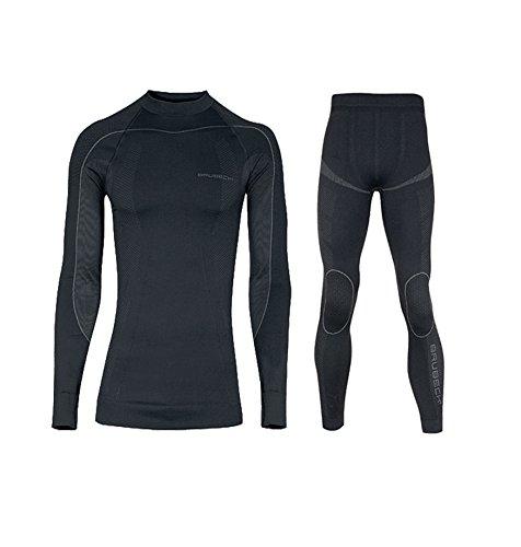 BRUBECK Herren Thermo Funktionsunterwäsche Set Lang: Shirt + Hose (Skiunterwäsche Motorradunterwäsche Sportwäsche schnelltrocknend), Größe:L;Farbe:Limited Edition/schwarz