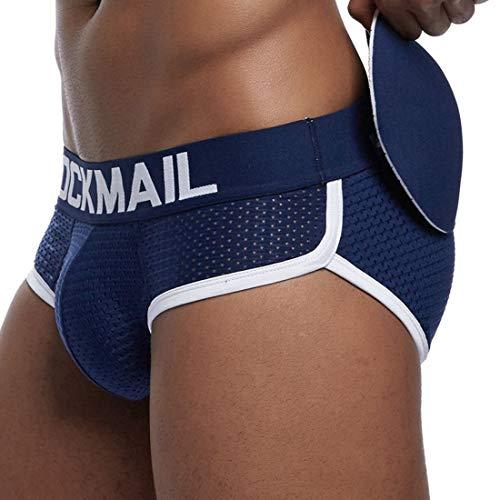 Jiyaru Bóxers para Hombre con Rellenos Delanteras y Traseras Desmontables, Calzoncillos Underwear de Malla Transpirable