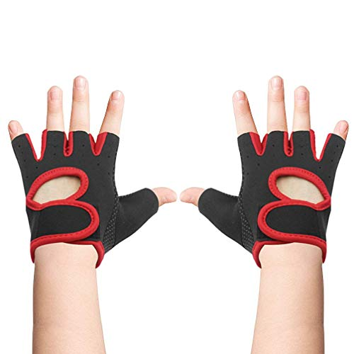 Luwint Kids Fingerless Workout Gloves - Anti-Slip Fitness Mitten for Children Cycling Yoga Weightlifting, 1 Pair (Red (7-12 Yrs Old))