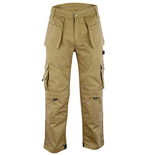 Wright Wears Herren Arbeit Cargohose Grau & Khaki Pro-11 Multi Taschen & Kniepolstertaschen …DE: 54/M (38W/31L Größe Fertigung)