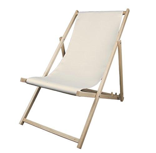 MultiBrands Liegestuhl, Holz, ohne Armlehne, klappbar (Naturweiß)
