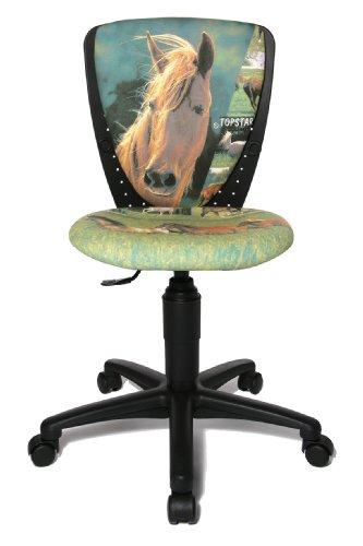 Topstar S\'cool 3, Kinderdrehstuhl, Schreibtischstuhl für Kinder, Bezugsstoff grün, Motiv Pferde