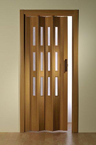 Kunststoff - Falttür Buche mit 3 Fenster 88,5x202 cm doppelwandig