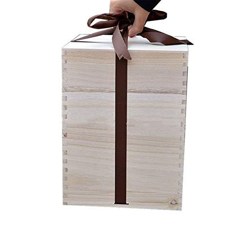 Bolsa de té Caddy Box Organizer Caja de Almacenamiento de Madera con Organizador a Prueba de liddust Organizador de Cajas de té Almacenamiento (Color : Brown, Size : 21X28X21CM)
