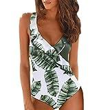 Routinfly 2019 - Conjunto de Bikini para Mujer, Cuello en V, Estampado de Leopardo Sexy, para Verano, Informal, para Playa Verde XXL