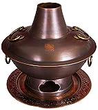 Parrilla Eléctrica Portátil Beijing Hot Bot, cobre puro espesado, olla caliente multi-persona, calefacción de carbón calefacción de dos sabores caliente, adecuado for que los amigos cenan