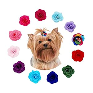 JpGdn 12Pairs/24pcs Dog Hair Bows with Rubber Band for Puppy Doggy Small Medium Animals Dog Hair Bow Ties in Mixed Color Hair Flowers Grooming Accessories Attachment